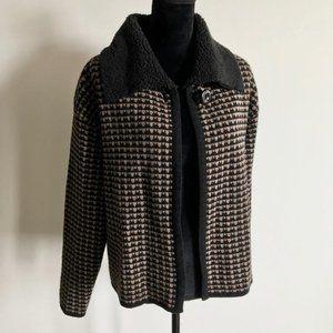 Retro Brown Black Collared Sweater Cardigan Medium
